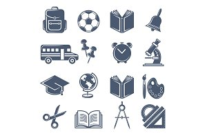 School symbols. Vector black icons
