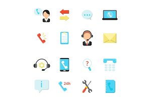 Online support and call center icons