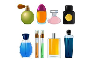 Perfumes bottles. Various flasks and