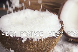 Slow motion coconut shavings and