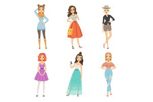 Fashionable girls. Cartoon female