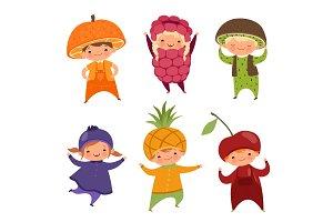 Children in fruit costumes. Vector