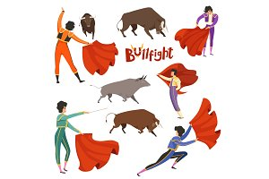 Bullfighting corrida. Vector