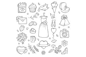 Wedding day icons. Various pictures