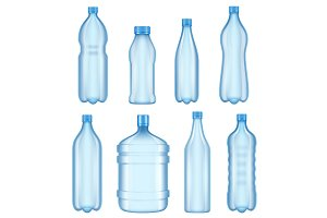 Transparent plastic bottles. Vector