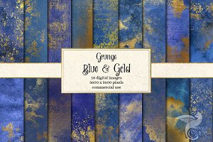 Grunge Blue and Gold Textres
