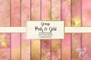Grunge Pink and Gold Textures