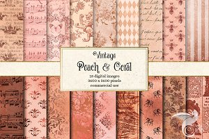 Vintage Peach and Coral Textures