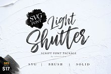 Light Shutter + SVG Font by  in Script Fonts