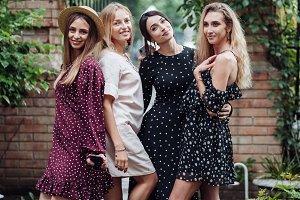 Four beautiful girls are photographe