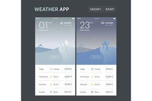Weather Application Template. Rainy