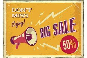 Vector vintage megaphone. Big sale.