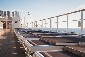 Empty sea deck of a cruise ship