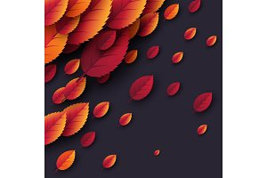 3d realistic autumn fall leaves