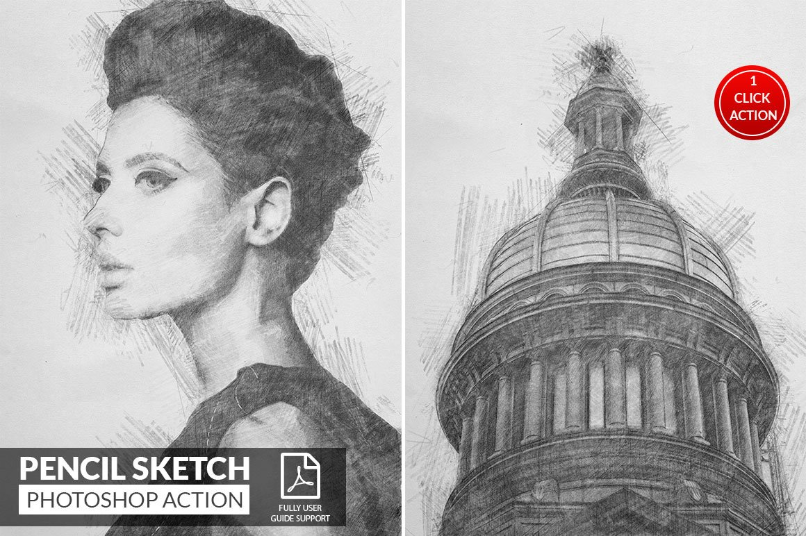 Pencil sketch photoshop action photoshop add ons creative market