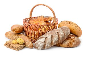 Fresh bread, buns and cookies isolat