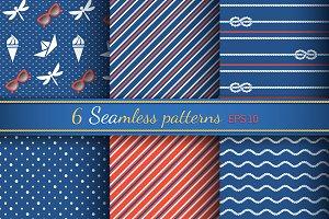 6 seamless pattern on marine style