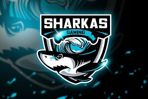 Sharkas Gaming-Mascot & Esport logo
