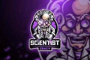 Scientist Crazy-Mascot & Esport logo