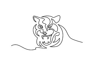 Continuous one line drawing Tiger