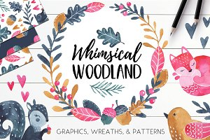 Watercolor Autumn Woodland Clipart