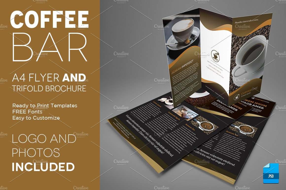 Coffee A4 Trifold Brochure And Flyer Flyer Templates Creative Market