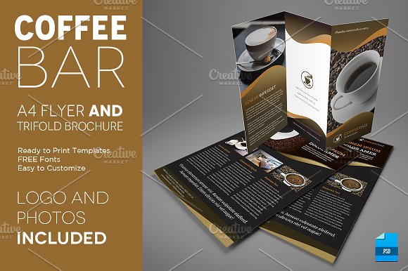 Coffee A Trifold Brochure And Flyer Flyer Templates Creative - A4 tri fold brochure template