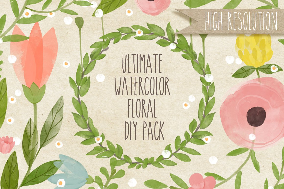 Diy wedding invitations floral creative market blog ultimate watercolor floral diy pack solutioingenieria Choice Image
