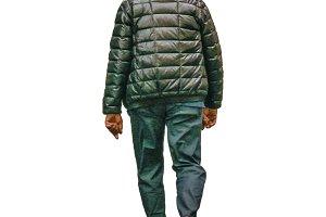 Senior Man Walking Isolated Photo 0