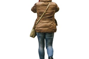 Back View Adult Woman with Winter Cl