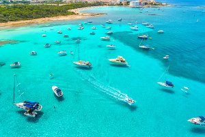 Boats and luxury yachts on the sea