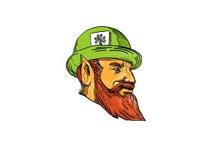 Leprechaun Head Side Drawing