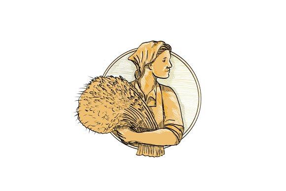 Female Wheat Farmer Drawing