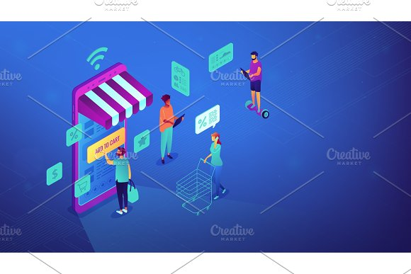 Isometric online shopping and Wi-Fi