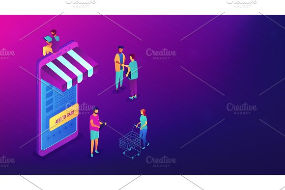 Isometric shopping online with
