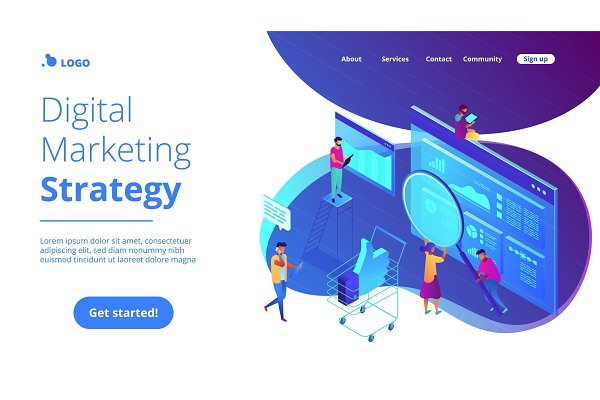 Isometric digital marketing strateg…