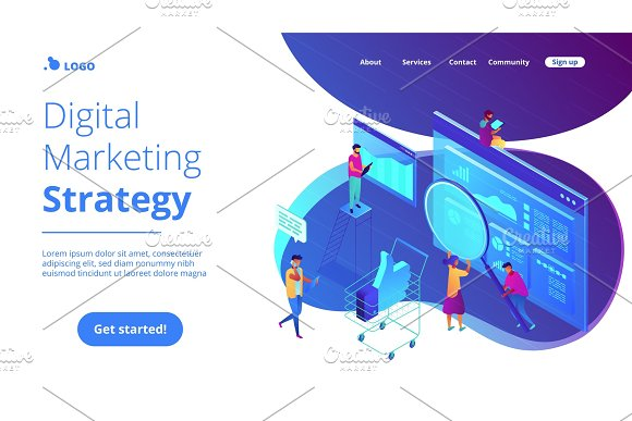 Isometric digital marketing strategy