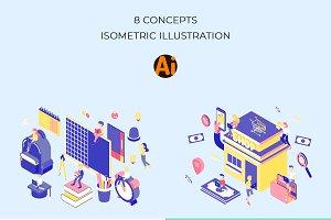 Life Jobs Isometric Illustration