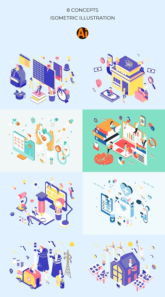 Life Jobs Isometric Illustration