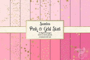 Pink and Gold Star Digital Paper