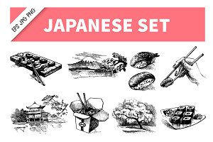 Japanese Hand Drawn Set