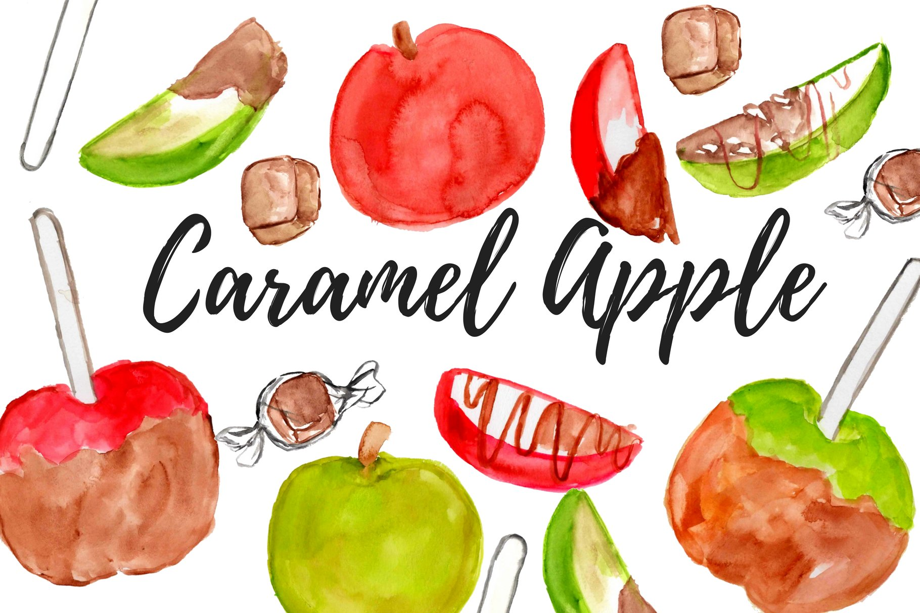 Caramel Apple Watercolor Clipart Pre Designed Photoshop Graphics Creative Market