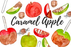Caramel Apple Watercolor Clipart