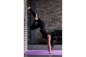 Beginning female yogi practicing
