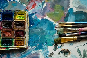 Artist paint brushes and watercolor