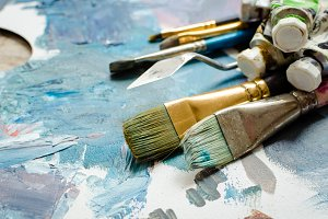 Artist paint brushes and oil paint