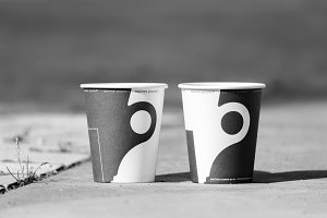 Two cups of coffee in the park