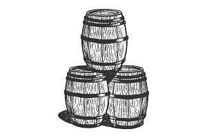 Wine beer barrels engraving vector