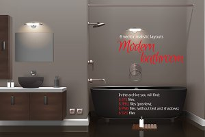 Modern Bathroom Realistic Set