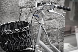 Bicycle leaning against the wall